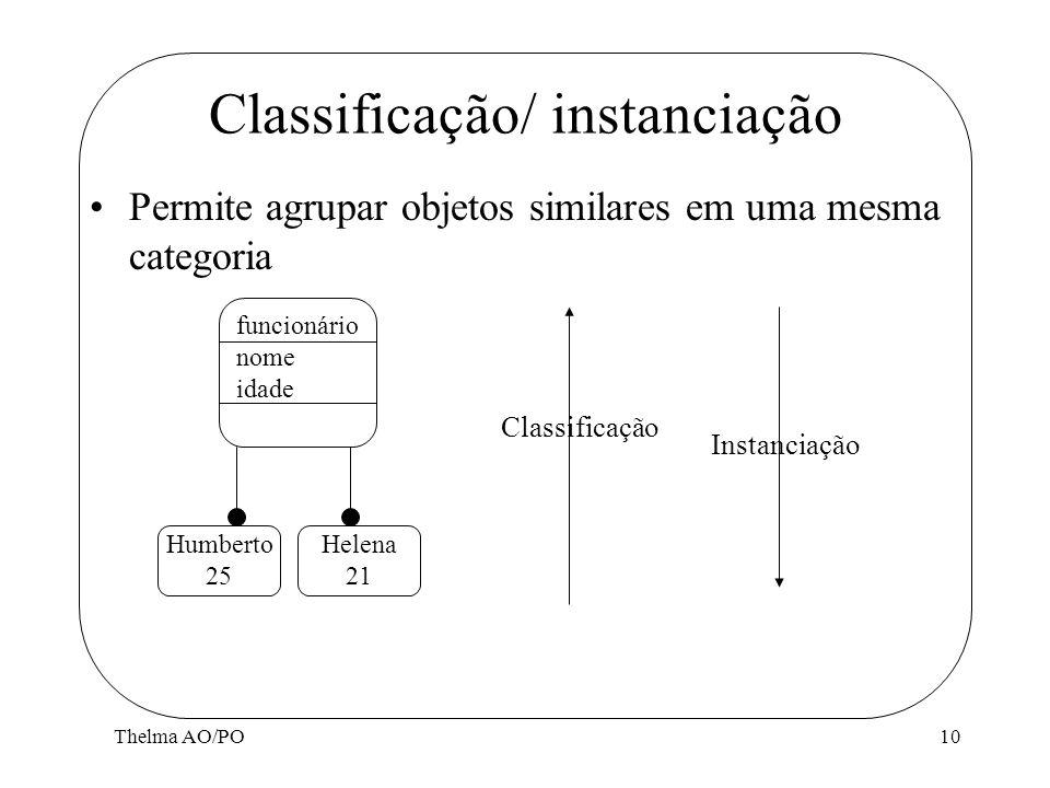 Thelma AO/PO10 Classificação/ instanciação Permite agrupar objetos similares em uma mesma categoria funcionário nome idade Instanciação Classificação