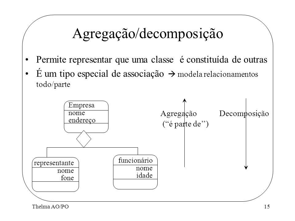 Thelma AO/PO15 Permite representar que uma classe é constituída de outras É um tipo especial de associação modela relacionamentos todo/parte Agregação
