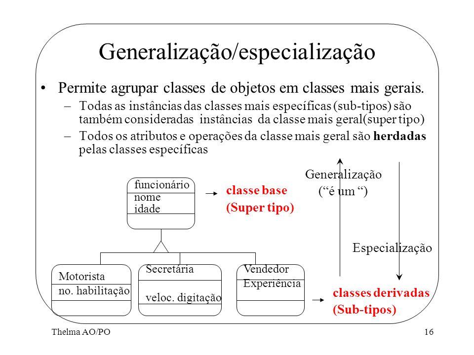 Thelma AO/PO16 Generalização/especialização Permite agrupar classes de objetos em classes mais gerais. –Todas as instâncias das classes mais específic