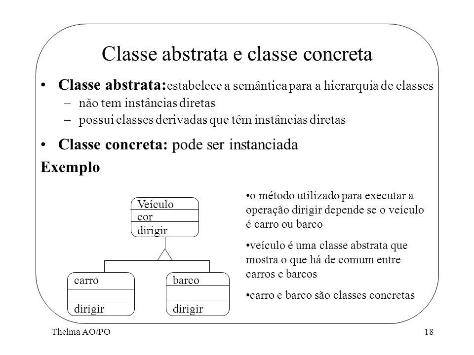 Thelma AO/PO18 Classe abstrata e classe concreta Classe abstrata: estabelece a semântica para a hierarquia de classes –não tem instâncias diretas –pos