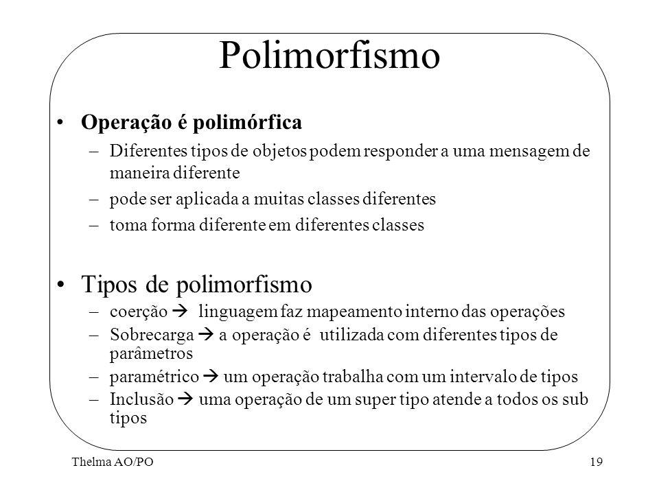 Thelma AO/PO19 Polimorfismo Operação é polimórfica –Diferentes tipos de objetos podem responder a uma mensagem de maneira diferente –pode ser aplicada