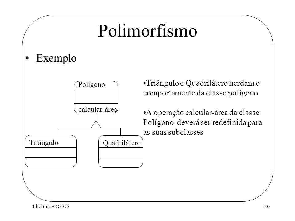 Thelma AO/PO20 Polimorfismo Exemplo Polígono calcular-área Triângulo Quadrilátero Triângulo e Quadrilátero herdam o comportamento da classe polígono A