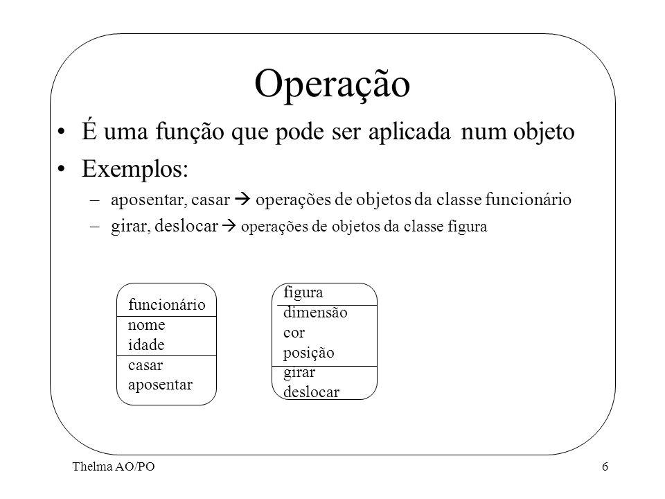 Thelma AO/PO6 Operação É uma função que pode ser aplicada num objeto Exemplos: –aposentar, casar operações de objetos da classe funcionário –girar, de