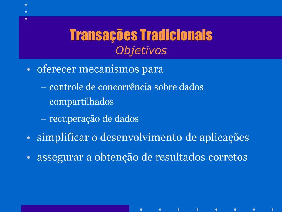 Transações Tradicionais Objetivos oferecer mecanismos para –controle de concorrência sobre dados compartilhados –recuperação de dados simplificar o de