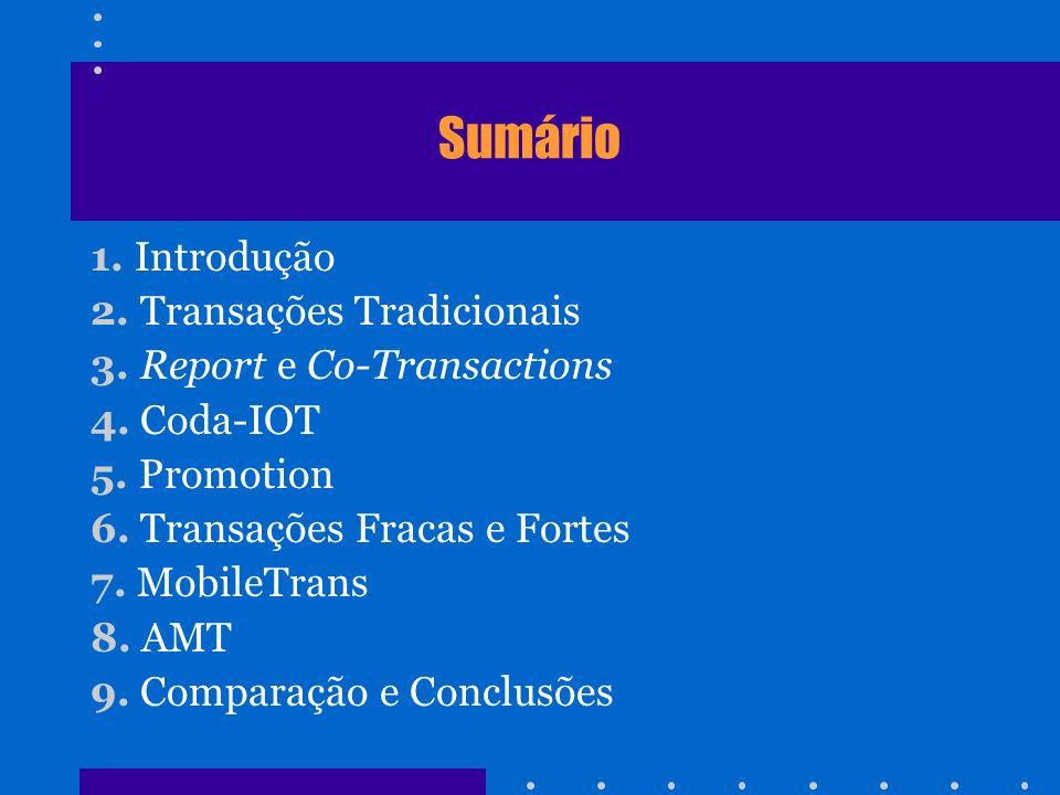 Sumário 1. Introdução 2. Transações Tradicionais 3. Report e Co-Transactions 4. Coda-IOT 5. Promotion 6. Transações Fracas e Fortes 7. MobileTrans 8.