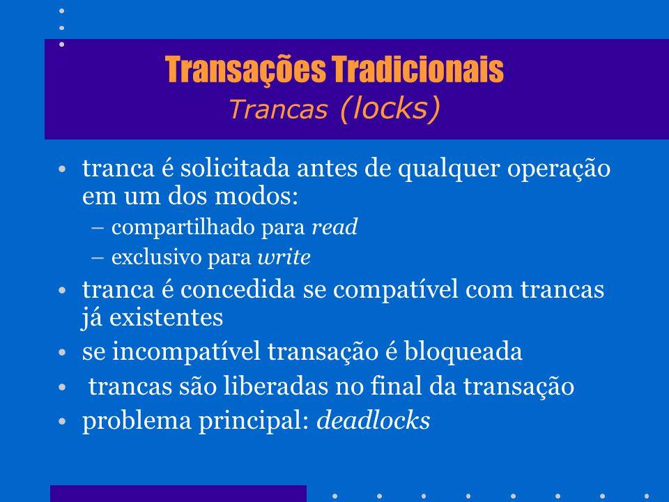 Transações Tradicionais Trancas (locks) tranca é solicitada antes de qualquer operação em um dos modos: –compartilhado para read –exclusivo para write