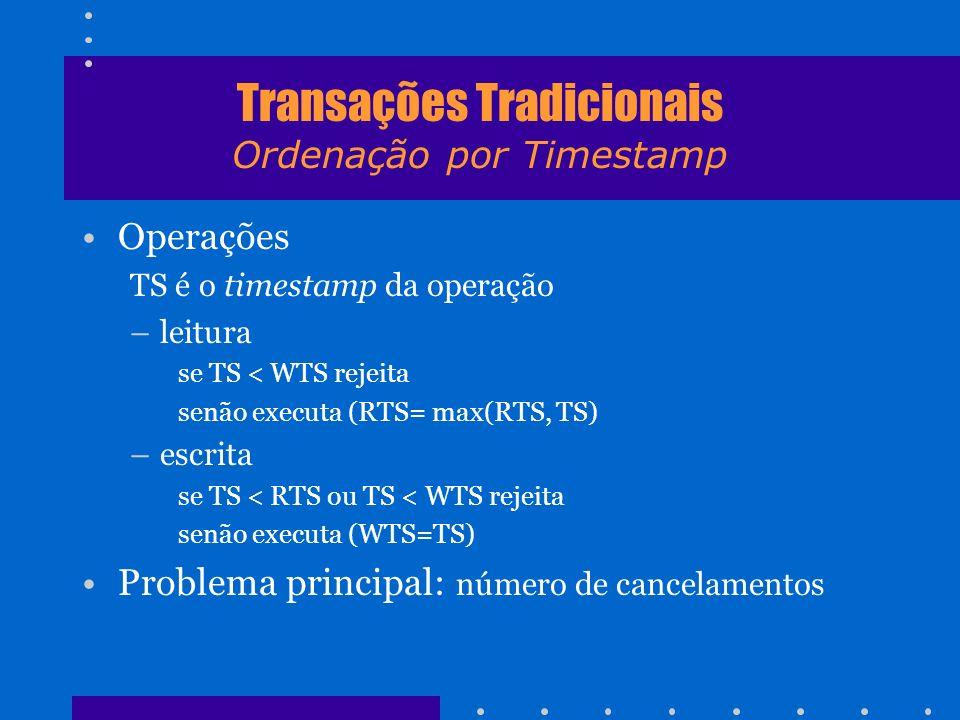 Transações Tradicionais Ordenação por Timestamp Operações TS é o timestamp da operação –leitura se TS < WTS rejeita senão executa (RTS= max(RTS, TS) –
