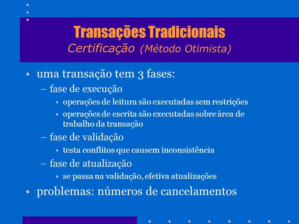 Transações Tradicionais Certificação (Método Otimista) uma transação tem 3 fases: –fase de execução operações de leitura são executadas sem restrições