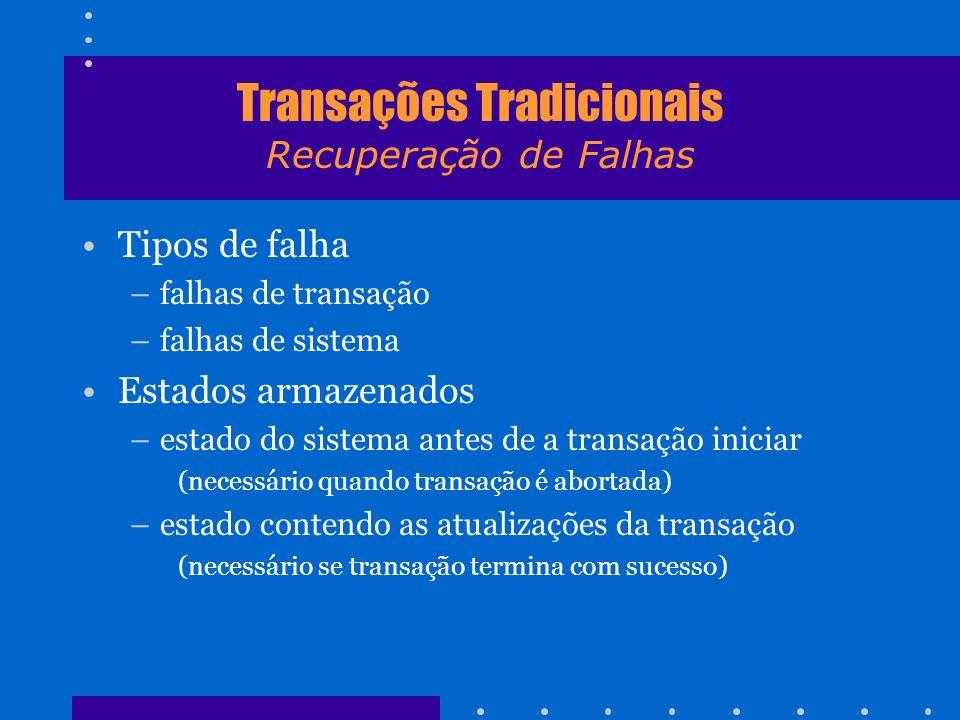 Transações Tradicionais Recuperação de Falhas Tipos de falha –falhas de transação –falhas de sistema Estados armazenados –estado do sistema antes de a