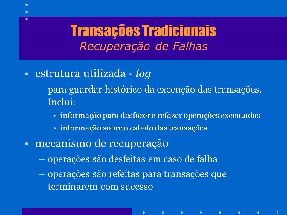 Transações Tradicionais Recuperação de Falhas estrutura utilizada - log –para guardar histórico da execução das transações. Inclui: informação para de