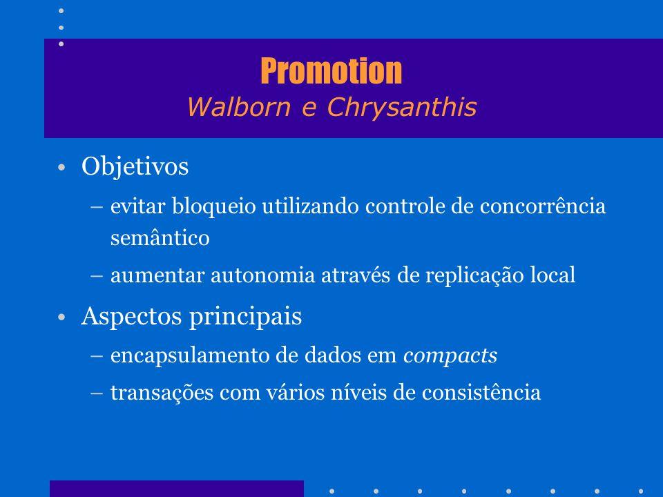 Promotion Walborn e Chrysanthis Objetivos –evitar bloqueio utilizando controle de concorrência semântico –aumentar autonomia através de replicação loc