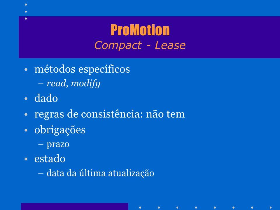 ProMotion Compact - Lease métodos específicos –read, modify dado regras de consistência: não tem obrigações –prazo estado –data da última atualização