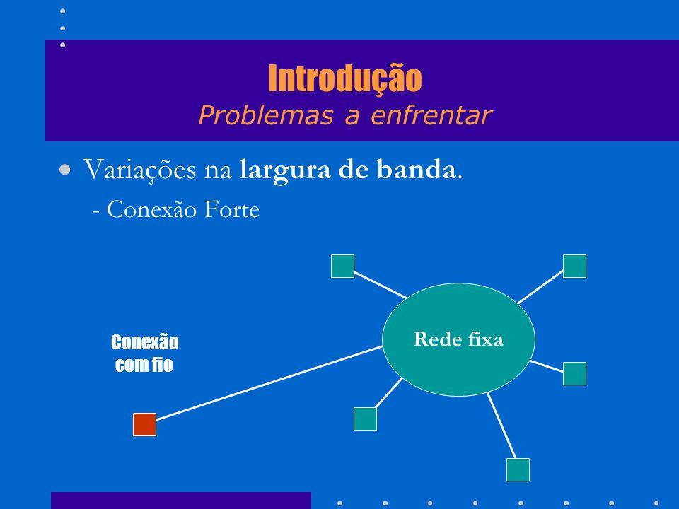 Variações na largura de banda. - Conexão Forte Rede fixa Conexão com fio Introdução Problemas a enfrentar