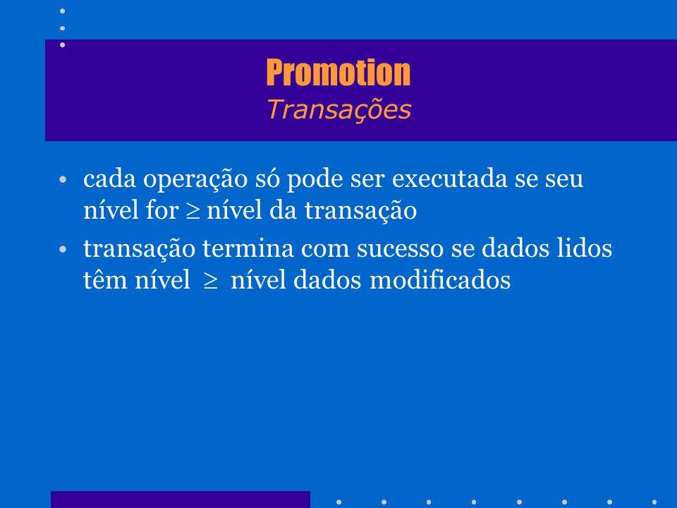 Promotion Transações cada operação só pode ser executada se seu nível for nível da transação transação termina com sucesso se dados lidos têm nível ní