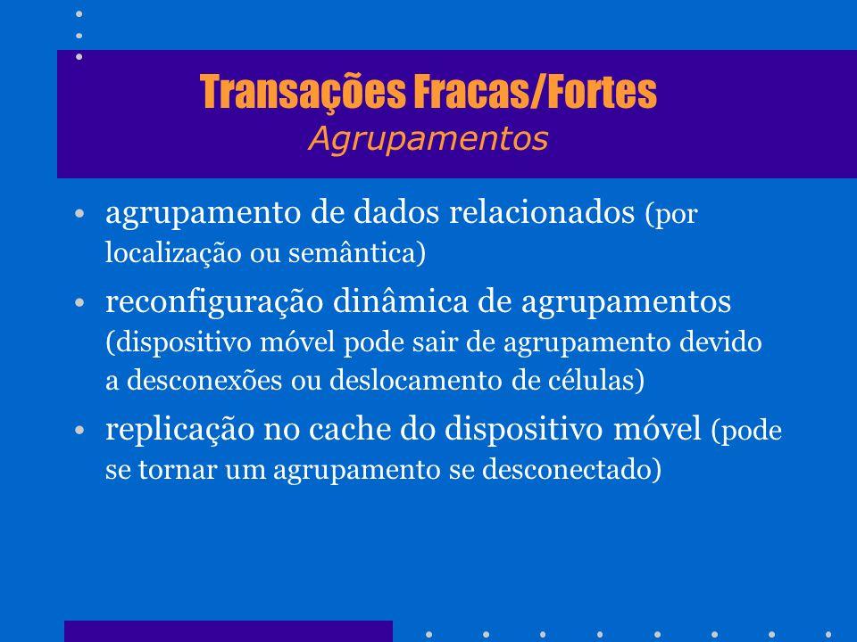 Transações Fracas/Fortes Agrupamentos agrupamento de dados relacionados (por localização ou semântica) reconfiguração dinâmica de agrupamentos (dispos