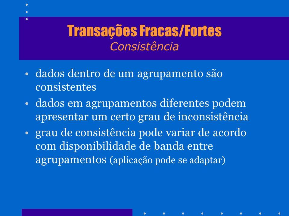 Transações Fracas/Fortes Consistência dados dentro de um agrupamento são consistentes dados em agrupamentos diferentes podem apresentar um certo grau