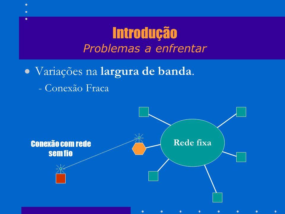 Variações na largura de banda. - Conexão Fraca Rede fixa Conexão com rede sem fio Introdução Problemas a enfrentar
