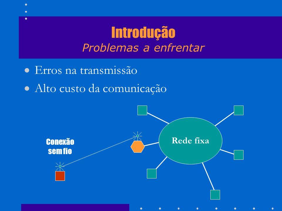 Erros na transmissão Alto custo da comunicação Rede fixa Conexão sem fio Introdução Problemas a enfrentar