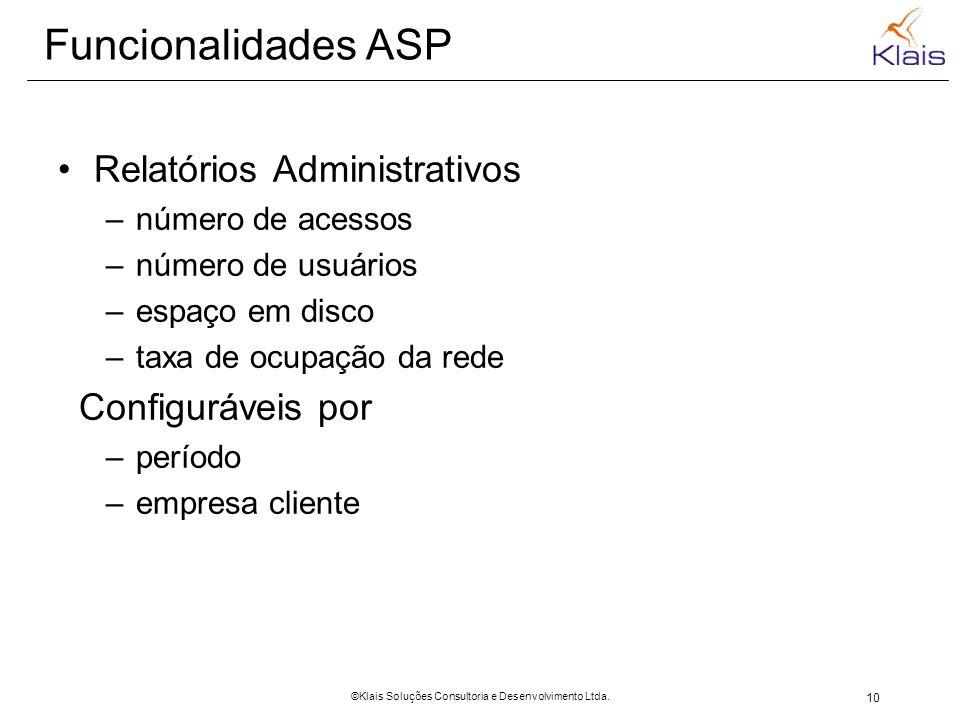 10 ©Klais Soluções Consultoria e Desenvolvimento Ltda. Funcionalidades ASP Relatórios Administrativos –número de acessos –número de usuários –espaço e