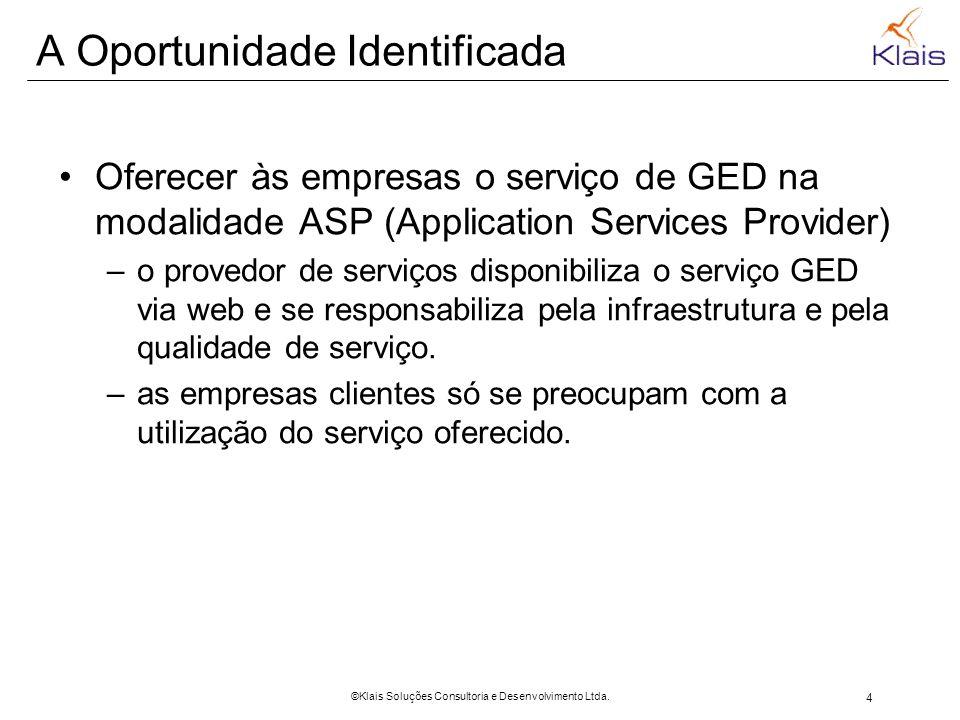 4 ©Klais Soluções Consultoria e Desenvolvimento Ltda. A Oportunidade Identificada Oferecer às empresas o serviço de GED na modalidade ASP (Application