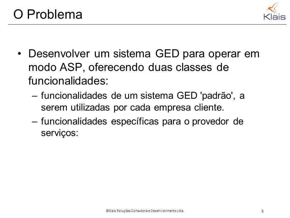 5 ©Klais Soluções Consultoria e Desenvolvimento Ltda. O Problema Desenvolver um sistema GED para operar em modo ASP, oferecendo duas classes de funcio