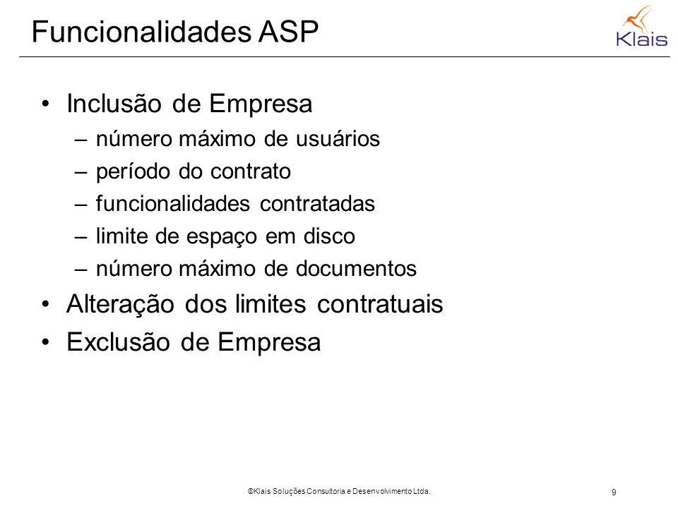 9 ©Klais Soluções Consultoria e Desenvolvimento Ltda. Funcionalidades ASP Inclusão de Empresa –número máximo de usuários –período do contrato –funcion