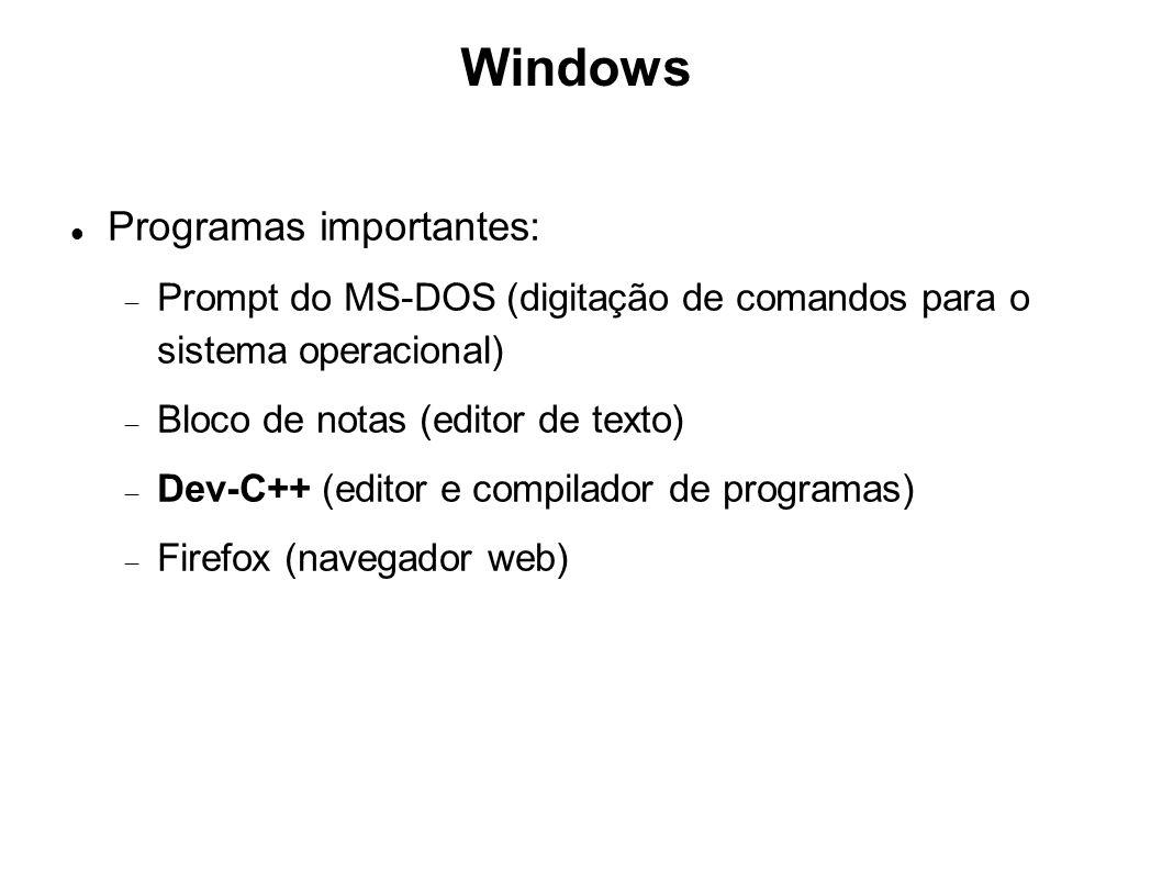 Windows Programas importantes: Prompt do MS-DOS (digitação de comandos para o sistema operacional) Bloco de notas (editor de texto) Dev-C++ (editor e