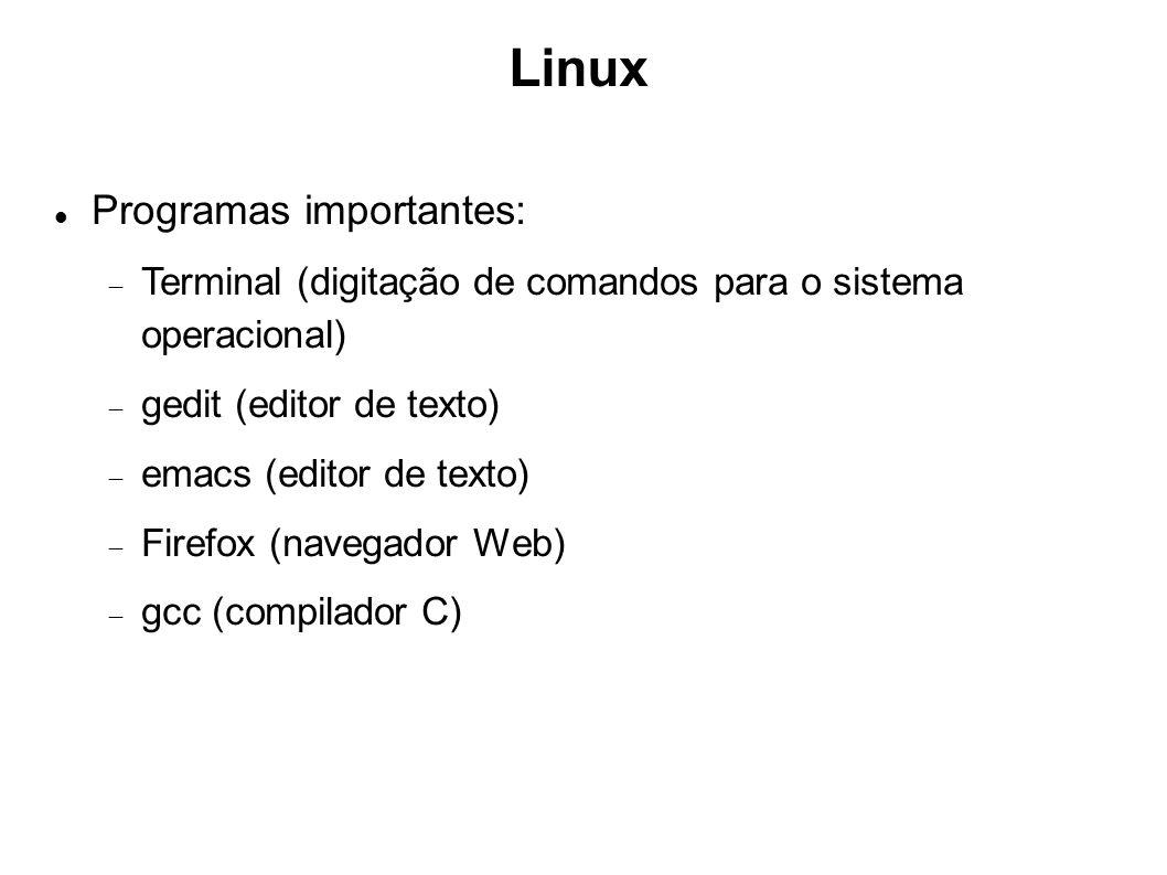 Linux Programas importantes: Terminal (digitação de comandos para o sistema operacional) gedit (editor de texto) emacs (editor de texto) Firefox (nave