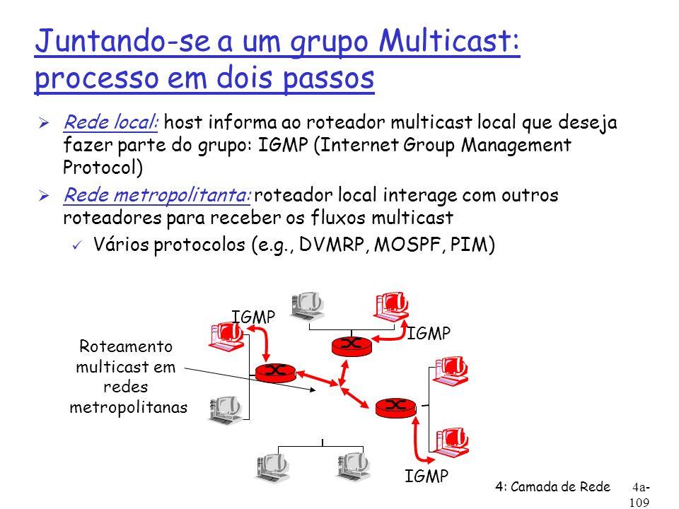 4: Camada de Rede4a- 109 Juntando-se a um grupo Multicast: processo em dois passos Ø Rede local: host informa ao roteador multicast local que deseja f