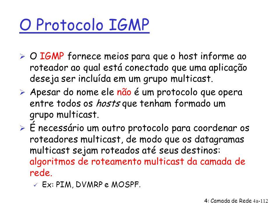 4: Camada de Rede4a-112 O Protocolo IGMP Ø O IGMP fornece meios para que o host informe ao roteador ao qual está conectado que uma aplicação deseja se