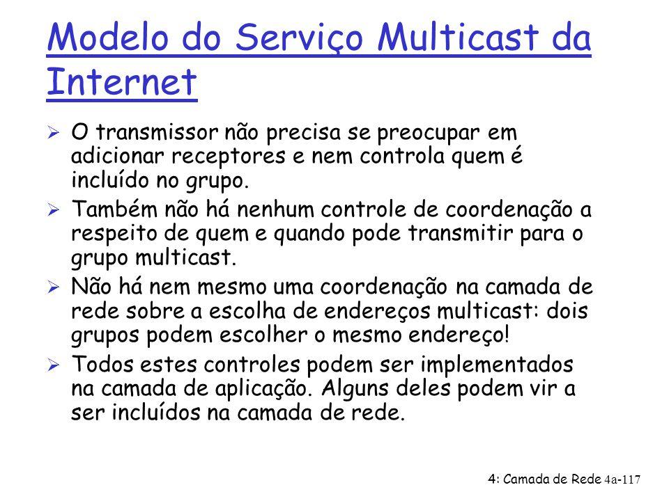 4: Camada de Rede4a-117 Modelo do Serviço Multicast da Internet Ø O transmissor não precisa se preocupar em adicionar receptores e nem controla quem é