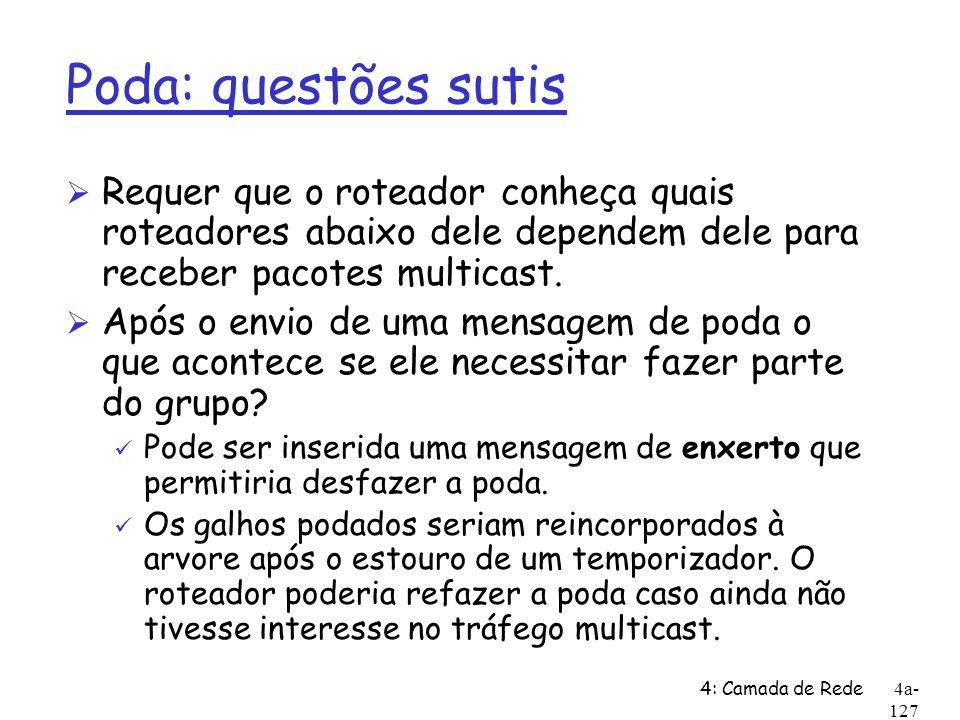 4: Camada de Rede4a- 127 Poda: questões sutis Ø Requer que o roteador conheça quais roteadores abaixo dele dependem dele para receber pacotes multicas