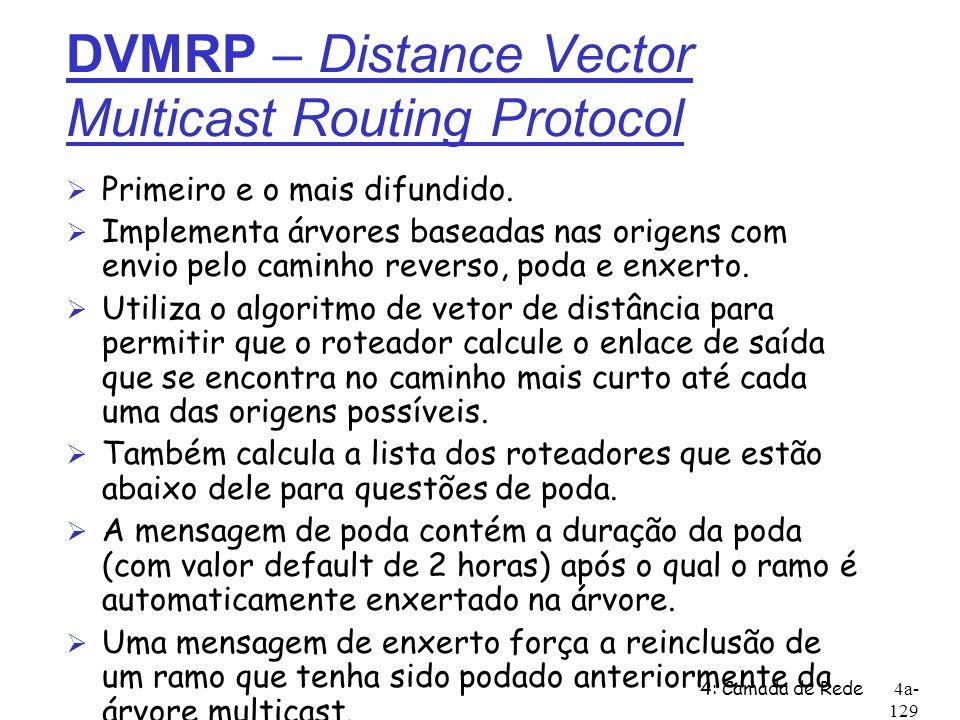 4: Camada de Rede4a- 129 DVMRP – Distance Vector Multicast Routing Protocol Ø Primeiro e o mais difundido. Ø Implementa árvores baseadas nas origens c