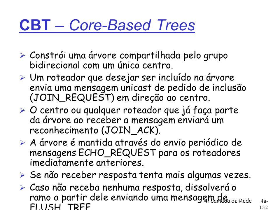 4: Camada de Rede4a- 132 CBT – Core-Based Trees Ø Constrói uma árvore compartilhada pelo grupo bidirecional com um único centro. Ø Um roteador que des