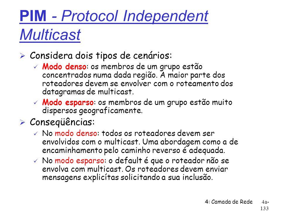 4: Camada de Rede4a- 133 PIM - Protocol Independent Multicast Ø Considera dois tipos de cenários: ü Modo denso: os membros de um grupo estão concentra