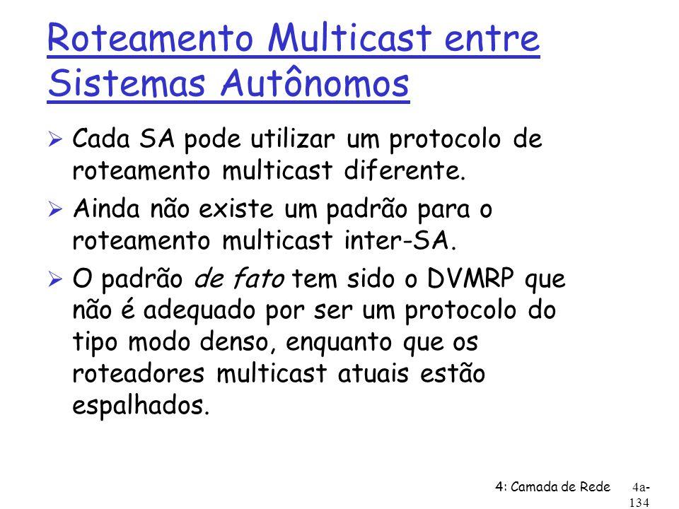 4: Camada de Rede4a- 134 Roteamento Multicast entre Sistemas Autônomos Ø Cada SA pode utilizar um protocolo de roteamento multicast diferente. Ø Ainda