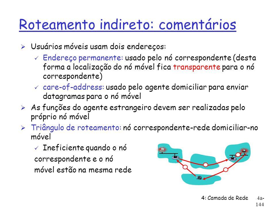 4: Camada de Rede4a- 144 Roteamento indireto: comentários Ø Usuários móveis usam dois endereços: ü Endereço permanente: usado pelo nó correspondente (