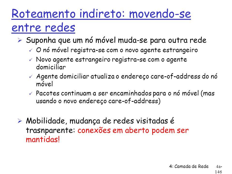 4: Camada de Rede4a- 146 Roteamento indireto: movendo-se entre redes Ø Suponha que um nó móvel muda-se para outra rede ü O nó móvel registra-se com o