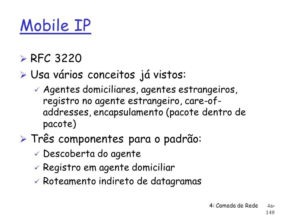 4: Camada de Rede4a- 149 Mobile IP Ø RFC 3220 Ø Usa vários conceitos já vistos: ü Agentes domiciliares, agentes estrangeiros, registro no agente estra