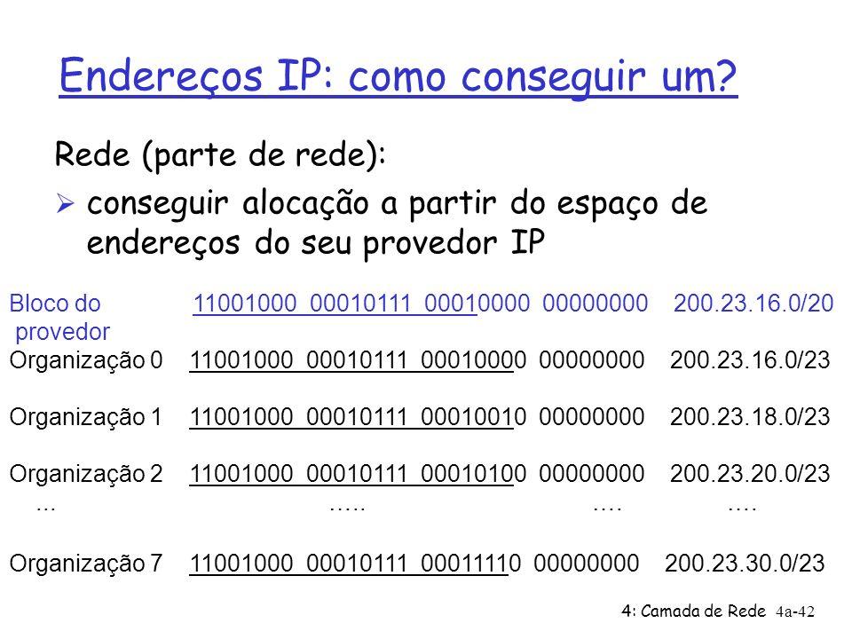 4: Camada de Rede4a-42 Endereços IP: como conseguir um? Rede (parte de rede): Ø conseguir alocação a partir do espaço de endereços do seu provedor IP