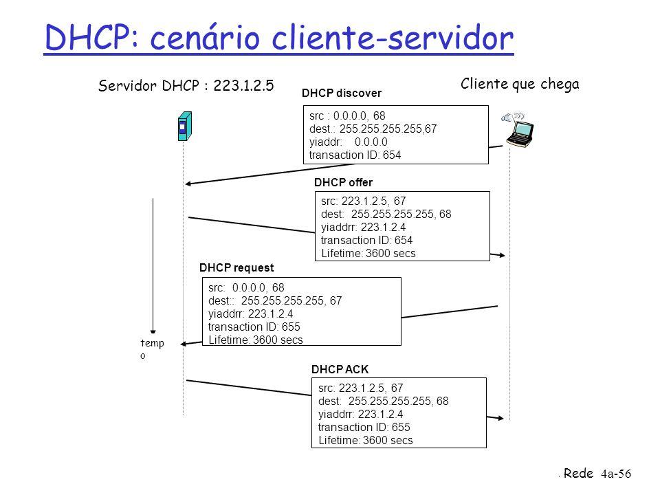 4: Camada de Rede4a-56 DHCP: cenário cliente-servidor Servidor DHCP : 223.1.2.5 Cliente que chega temp o DHCP discover src : 0.0.0.0, 68 dest.: 255.25