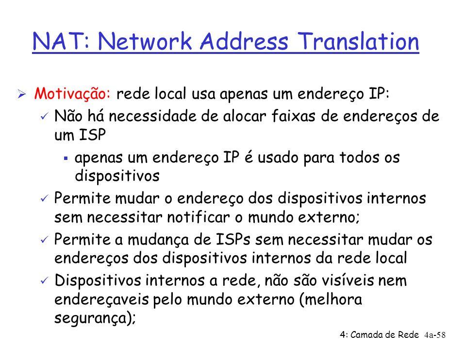 4: Camada de Rede4a-58 NAT: Network Address Translation Ø Motivação: rede local usa apenas um endereço IP: ü Não há necessidade de alocar faixas de en
