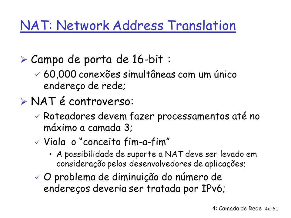4: Camada de Rede4a-61 NAT: Network Address Translation Ø Campo de porta de 16-bit : ü 60,000 conexões simultâneas com um único endereço de rede; Ø NA