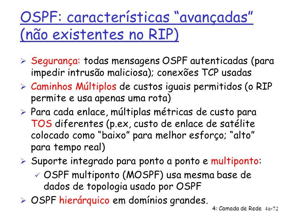 4: Camada de Rede4a-72 OSPF: características avançadas (não existentes no RIP) Ø Segurança: todas mensagens OSPF autenticadas (para impedir intrusão m