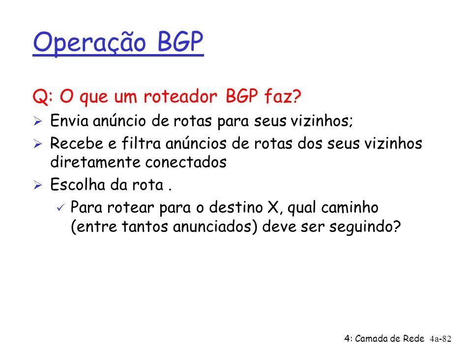4: Camada de Rede4a-82 Operação BGP Q: O que um roteador BGP faz? Ø Envia anúncio de rotas para seus vizinhos; Ø Recebe e filtra anúncios de rotas dos