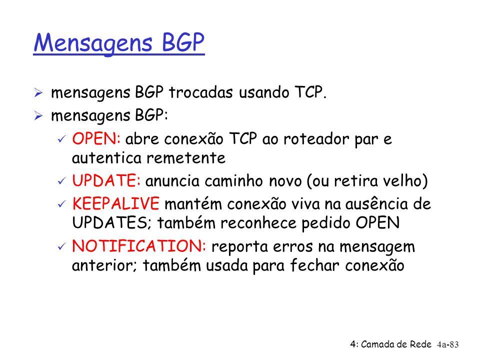 4: Camada de Rede4a-83 Mensagens BGP Ø mensagens BGP trocadas usando TCP. Ø mensagens BGP: ü OPEN: abre conexão TCP ao roteador par e autentica remete