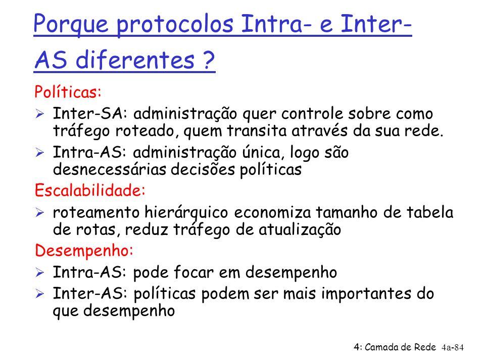 4: Camada de Rede4a-84 Porque protocolos Intra- e Inter- AS diferentes ? Políticas: Ø Inter-SA: administração quer controle sobre como tráfego roteado