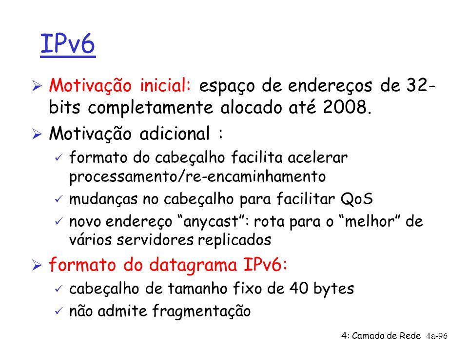 4: Camada de Rede4a-96 IPv6 Ø Motivação inicial: espaço de endereços de 32- bits completamente alocado até 2008. Ø Motivação adicional : ü formato do