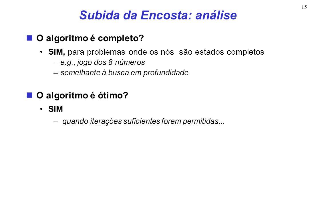 15 Subida da Encosta: análise O algoritmo é completo? SIM, para problemas onde os nós são estados completos –e.g., jogo dos 8-números –semelhante à bu