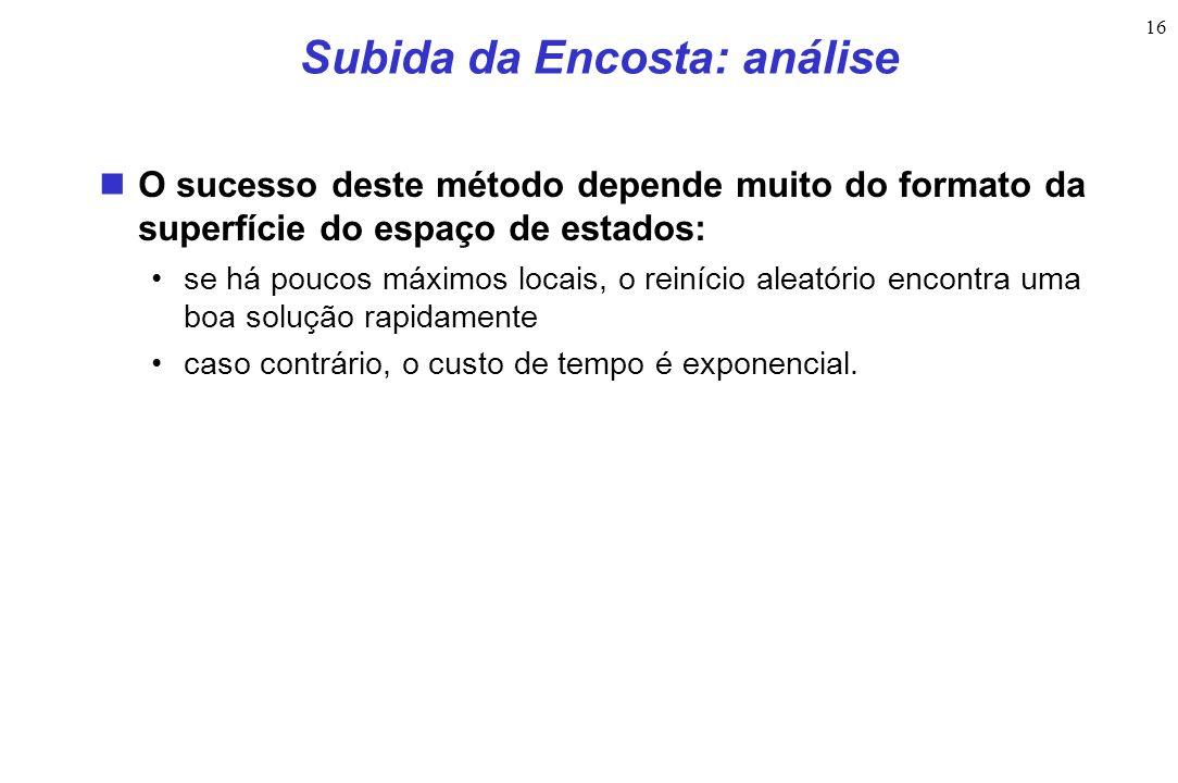 16 Subida da Encosta: análise O sucesso deste método depende muito do formato da superfície do espaço de estados: se há poucos máximos locais, o reiní